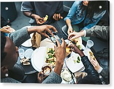 Friends In New York At Food Cart Acrylic Print by RyanJLane