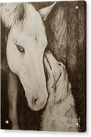 Friends In Sepia Acrylic Print