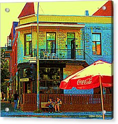 Friends On The Bench At Cartel Street Food Mexican Restaurant Rue Clark Art Of Montreal City Scene Acrylic Print by Carole Spandau