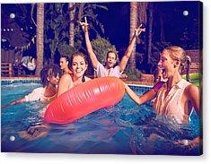 Friends Swimming At Pool Party Acrylic Print by Django