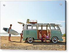 Friends With Van Relaxing On Beach Acrylic Print by Colin Anderson Productions Pty Ltd