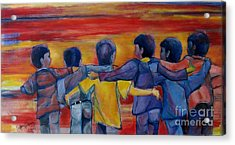 Friendship Walk - Children Acrylic Print