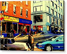Friperie St.laurent Clothing Variety Dress Shop Downtown Corner Store City Scene Montreal Art Acrylic Print by Carole Spandau
