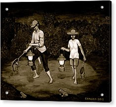 Frog Hunters Black And White Photograph Version Acrylic Print