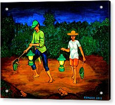 Frog Hunters Acrylic Print by Cyril Maza