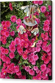 Frog In Flowers Acrylic Print by Sanford
