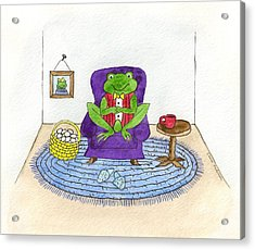 Frog In Purple Chair Acrylic Print