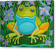 Frog On A Lily Pad Acrylic Print by Nick Gustafson