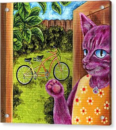 Acrylic Print featuring the painting From Purple Cat Illustration 22 by Hiroko Sakai