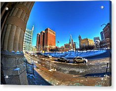 From The Stairs Of City Hall Winter 2013 Acrylic Print