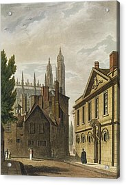 Front Of Trinity Hall, Cambridge Acrylic Print by Augustus Charles Pugin