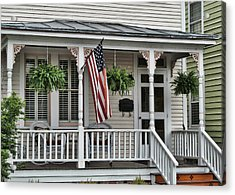 Front Porch Flag Acrylic Print by Victor Montgomery
