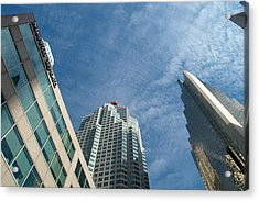 Front Stree Down Town Toronto Sky View Through The Hotels Skyscraper Condo  Housing Buildings Water  Acrylic Print by Navin Joshi