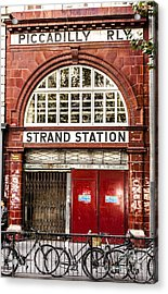 Front To The Disused Strand Underground Station On The Piccadill Acrylic Print