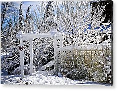 Front Yard Of A House In Winter Acrylic Print by Elena Elisseeva