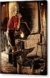 Frontier Blacksmith At The Forge Acrylic Print