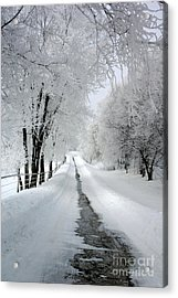 The Long Frosted Road Acrylic Print