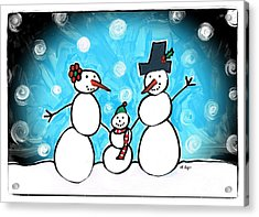 Frosty Family 1 Merry Christmas By Sharon Cummings Acrylic Print