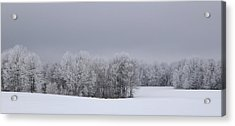 Frosty Farm Fields Acrylic Print