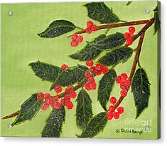 Frosty Holly Berries Acrylic Print by Shelia Kempf