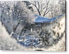 Frosty Winter Window Acrylic Print by Thomas Woolworth