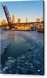 Frozen Cleveland Flats Skyline At Sunset Acrylic Print