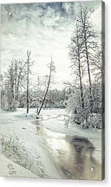 Frozen Creek At Sunset Acrylic Print