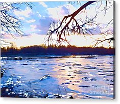 Frozen Delaware River Sunset Acrylic Print