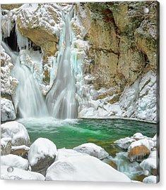 Frozen Emerald Square Acrylic Print