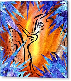 Frozen Fire Abstract Collage Acrylic Print
