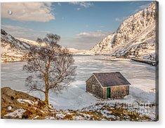 Frozen Lake Ogwen Acrylic Print by Adrian Evans