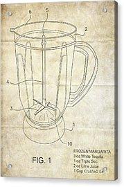 Frozen Margarita Recipe Patent Acrylic Print by Edward Fielding