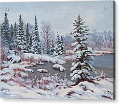 Frozen Pond Acrylic Print by Rob MacArthur