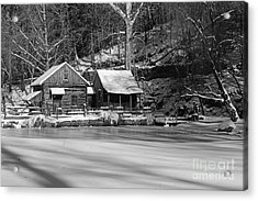 Frozen Pond In Black And White Acrylic Print by Paul Ward