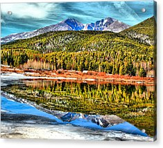 Frozen Reflection On Lily Lake Acrylic Print by Rebecca Adams