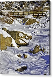 Frozen Roaring River Acrylic Print by Tom Wilbert