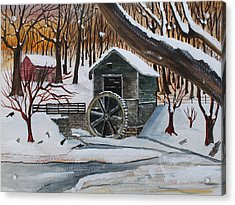 Frozen Water Wheel Acrylic Print