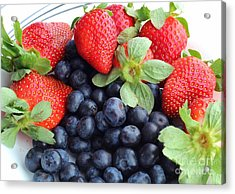 Fruit 2- Strawberries - Blueberries Acrylic Print by Barbara Griffin