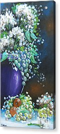 Acrylic Print featuring the painting Fruit And Flowers Still Life by Patrice Torrillo