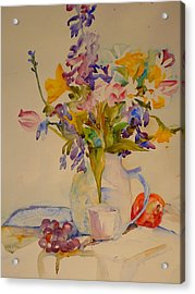 Fruit And Flowers Acrylic Print by Valerie Lynch