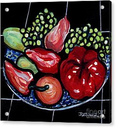 Acrylic Print featuring the painting Fruit And Peppers by Joyce Gebauer