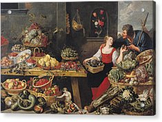 Fruit And Vegetable Market Oil On Canvas Acrylic Print