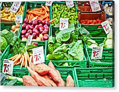 Fruit And Vegetable Stall Acrylic Print by Tom Gowanlock
