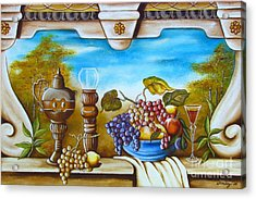Acrylic Print featuring the painting Fruit And Vino by Joseph Sonday