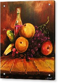 Acrylic Print featuring the painting Fruit And Wine by Al Brown