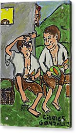 Fruit Eating Boys In Seville Acrylic Print by Cibeles Gonzalez