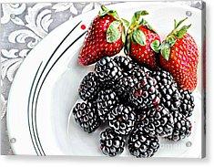 Fruit I - Strawberries - Blackberries Acrylic Print by Barbara Griffin