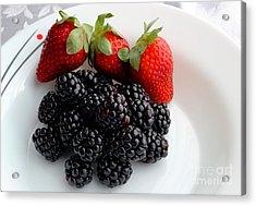 Fruit IIi - Strawberries - Blackberries Acrylic Print by Barbara Griffin