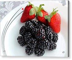 Fruit Iv - Strawberries - Blackberries Acrylic Print by Barbara Griffin