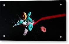 Acrylic Print featuring the photograph Fruit Loops And Milk Collision by John Hoey